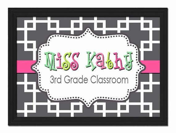 Teacher Name Signs for Classroom Fresh Custom Printable Pdf File Diy Chain Link Monogram Style