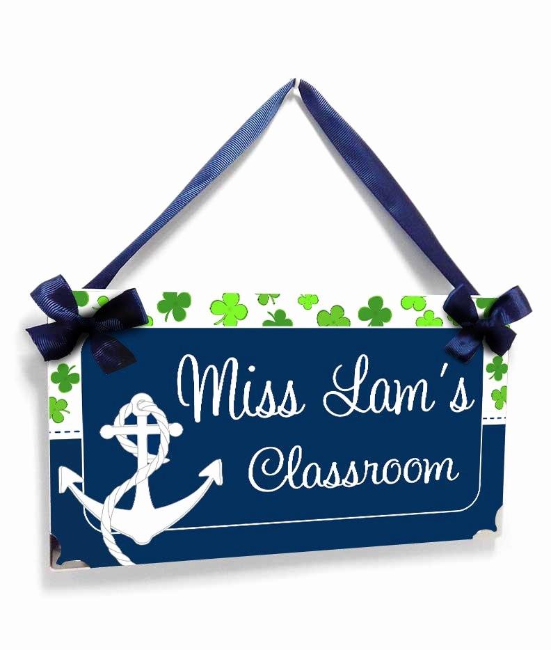 Teacher Name Signs for Classroom Fresh Personalized Teacher Name Classroom Door Sign Anchor and