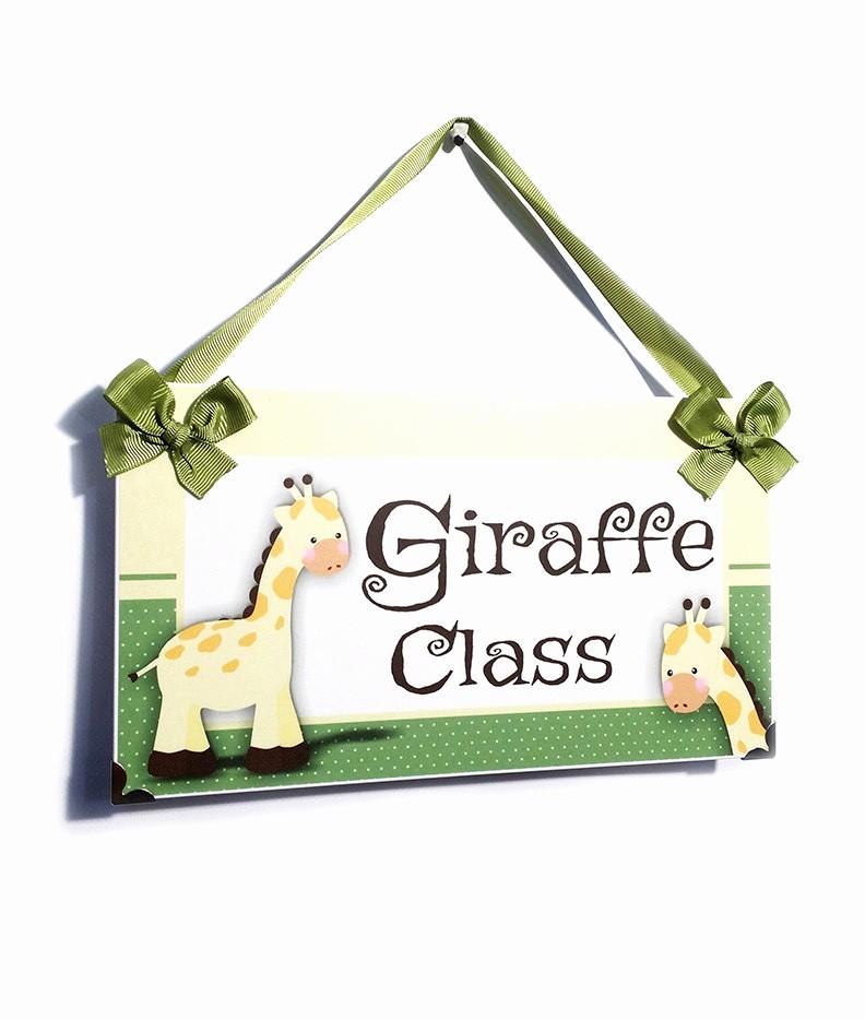 Teacher Name Signs for Classroom Fresh Personalized Teacher Name Classroom Door Sign Giraffe Class