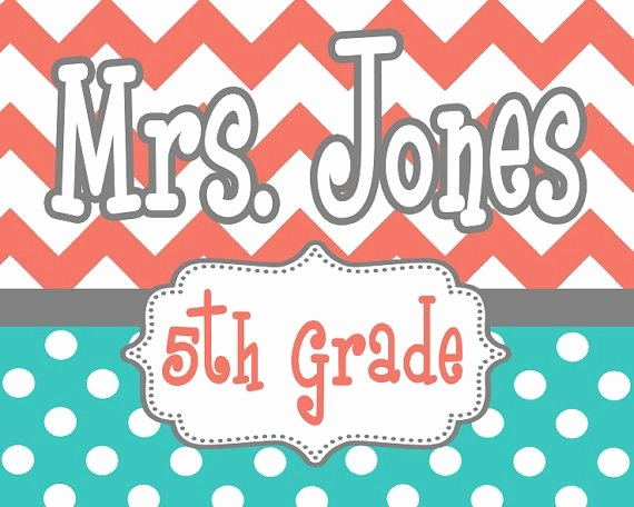 Teacher Name Signs for Classroom Inspirational Custom Colors Printable Pdf File Diy Chevron Polka by