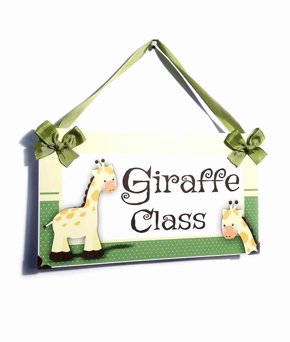 Teacher Name Signs for Classroom Lovely Personalized Teacher Name Classroom Door Sign Giraffe Class