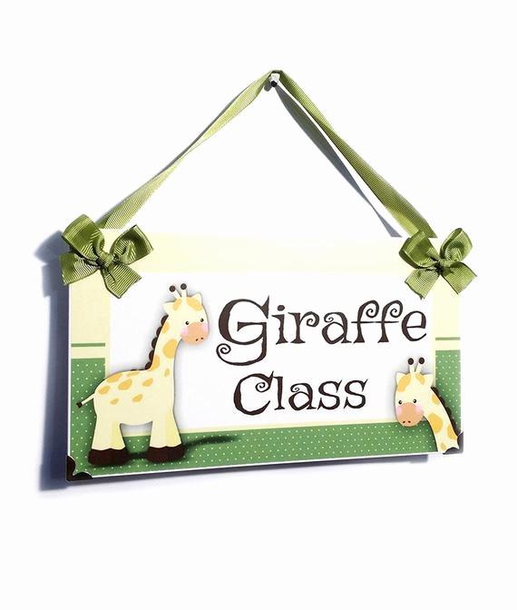 Teacher Name Signs for Classroom Lovely Personalized Teacher Name Classroom Door Sign Giraffe Class