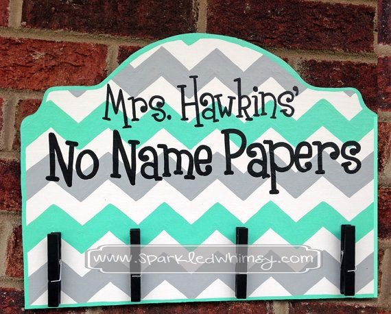 Teacher Name Signs for Classroom Luxury No Name Papers Sign for Classroom by Sparkledwhimsy On