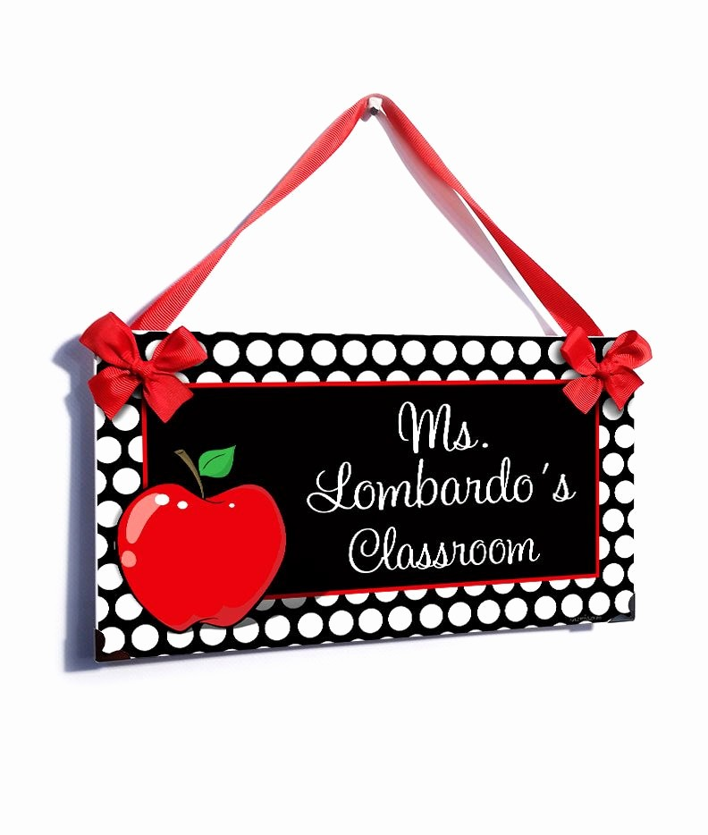 Teacher Name Signs for Classroom Luxury Personalized Teacher Name Classroom Door Sign White Dots Red