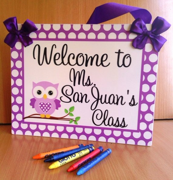 Teacher Name Signs for Classroom Luxury Purple Owl Custom Teacher Name Classroom Door Signs by