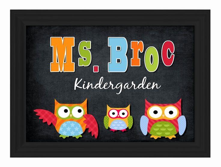 Teacher Name Signs for Classroom Unique Custom Framed Owl theme Teacher Name Sign Board