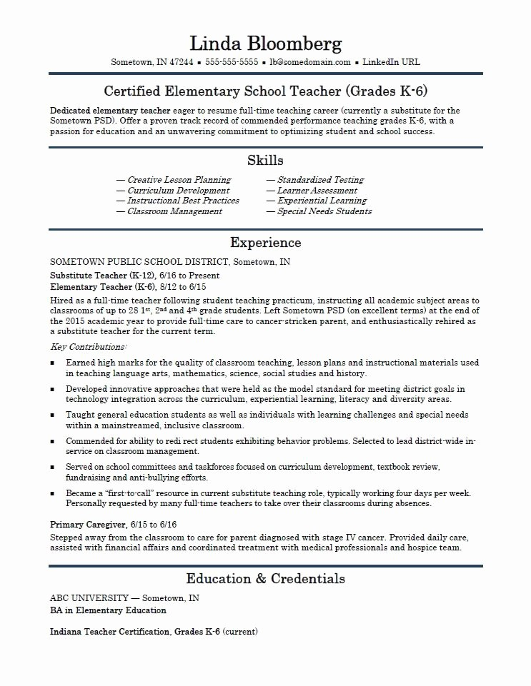 Teacher Resume format In Word Awesome Elementary School Teacher Resume Template
