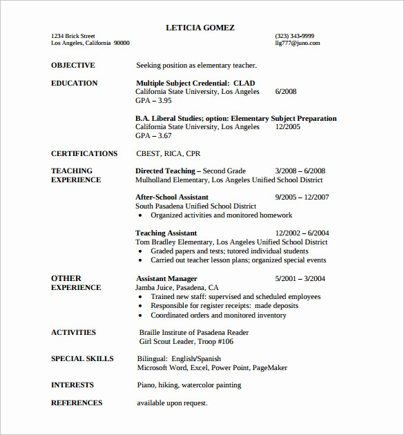 Teacher Resume format In Word Best Of 13 Sample Elementary Teacher Resumes