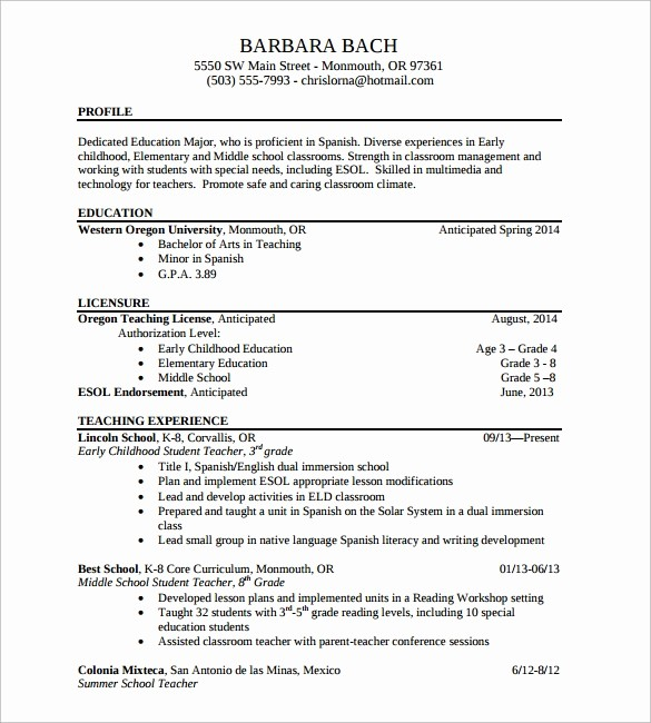 Teacher Resume format In Word Elegant 13 Sample Elementary Teacher Resumes