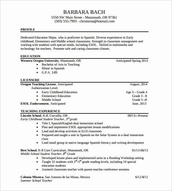 Teacher Resume format In Word Elegant 13 Sample Elementary Teacher Resumes