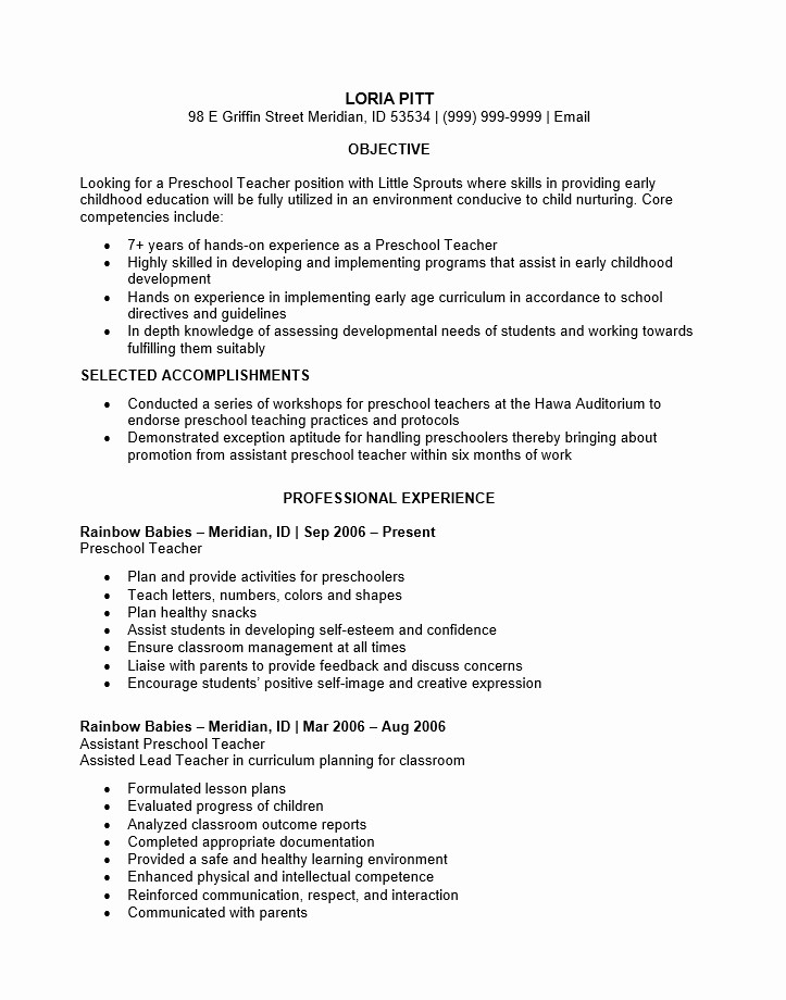 Teacher Resume format In Word Elegant Preschool Teacher Resume Samples Best Resume Collection