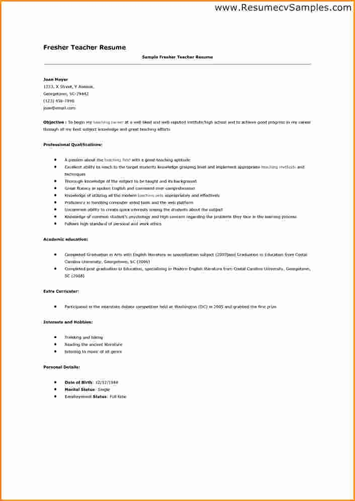 Teacher Resume format In Word Inspirational 9 Fresher Teacher Resume format In Word