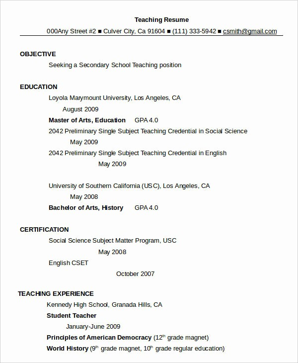 Teacher Resume format In Word Inspirational Resume In Word Template 24 Free Word Pdf Documents