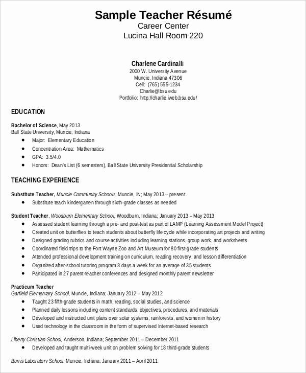 Teacher Resume format In Word Inspirational Teacher Resume Sample 32 Free Word Pdf Documents