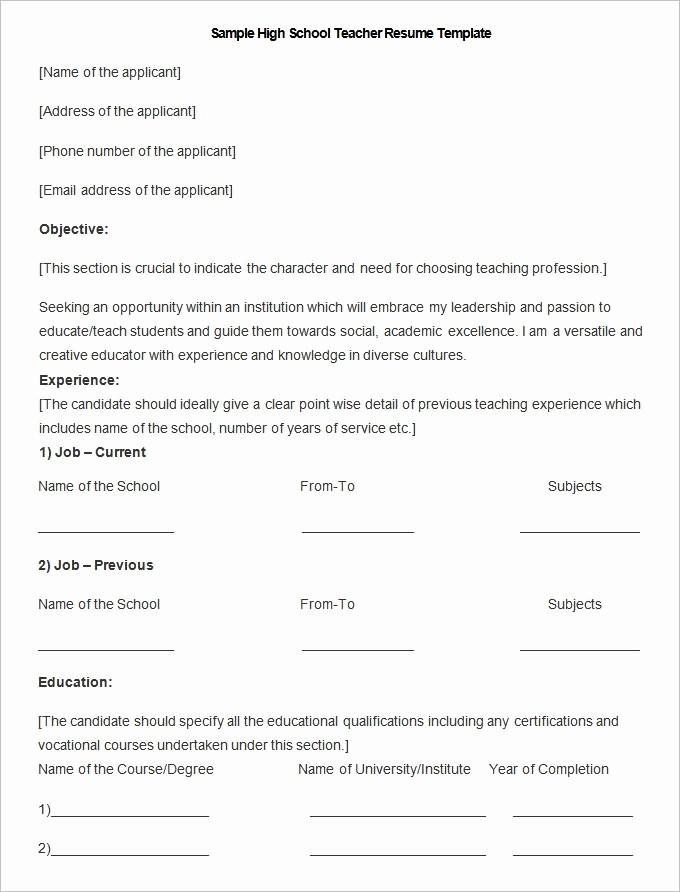 Teacher Resume format In Word Lovely Teacher Resume format In Word Best Resume Collection