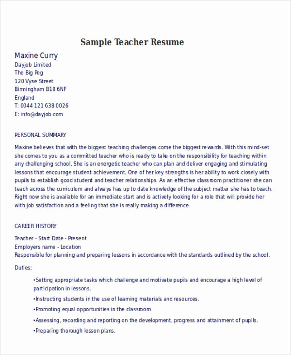 Teacher Resume format In Word New 25 Teacher Resume Templates In Word