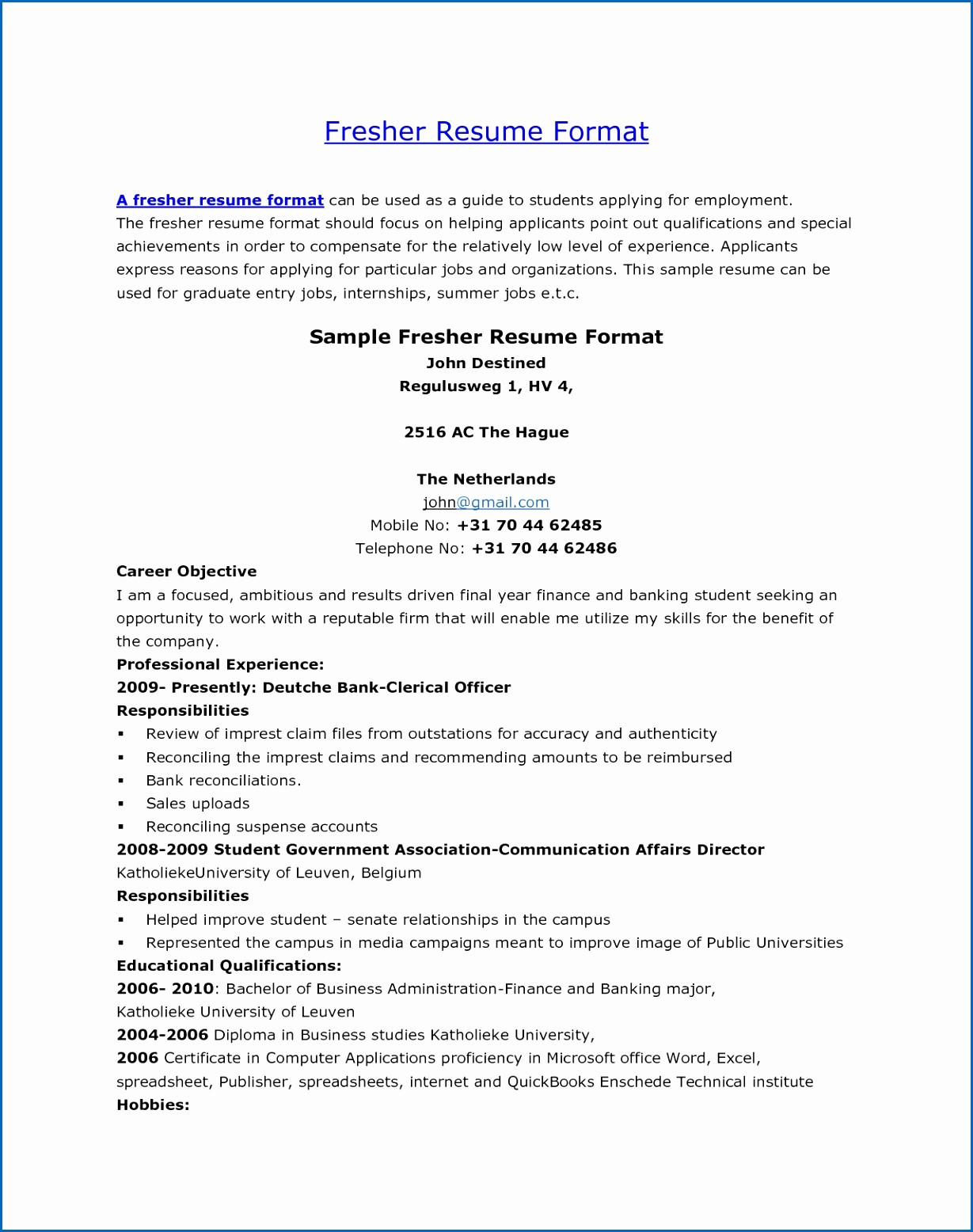 Teacher Resume format In Word New 8 Resume format In Word for Freshers