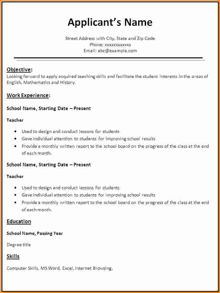 9 fresher teacher resume format in word