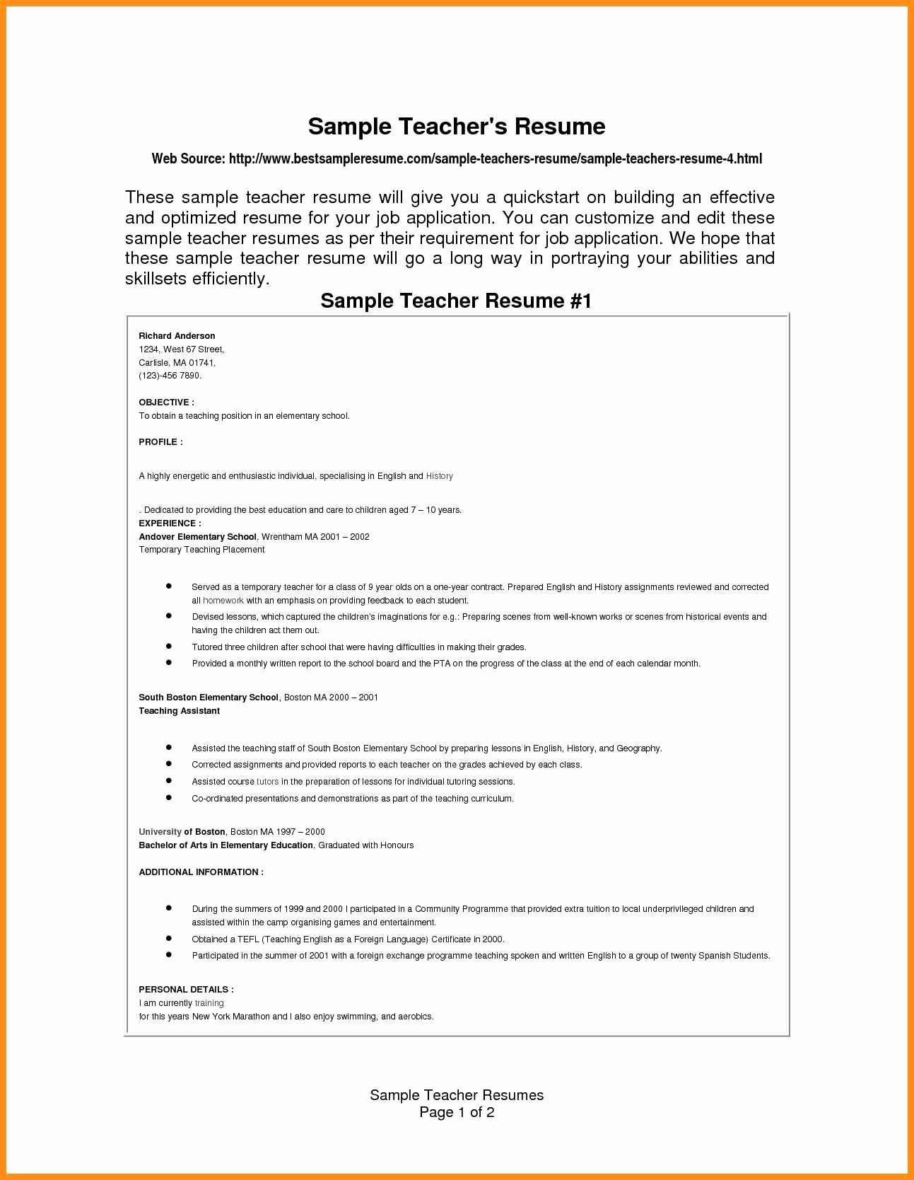 Teacher Resume Template Free Download