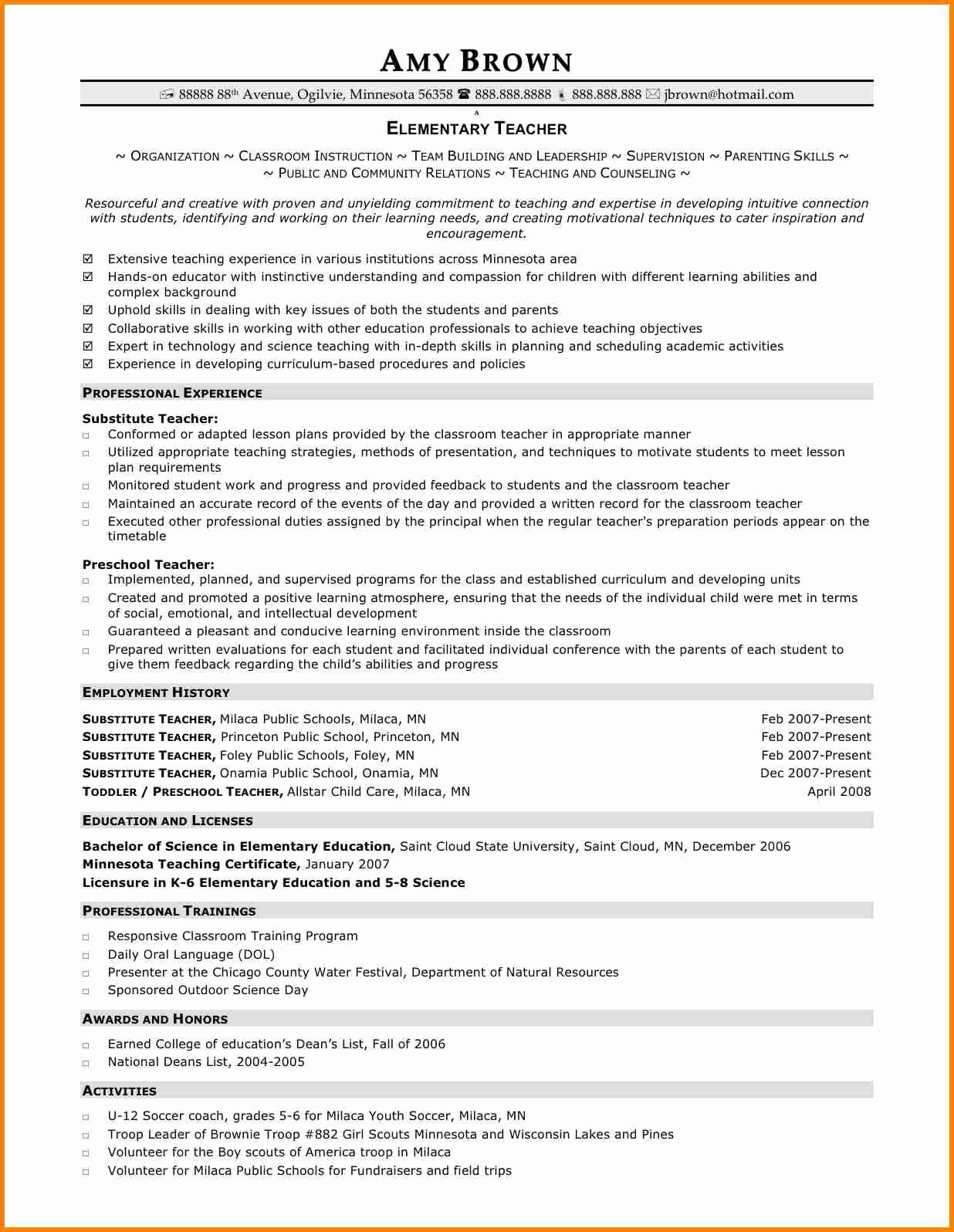 Teacher Resume Template Free Download Elegant 7 Elementary Teacher Resume Templates