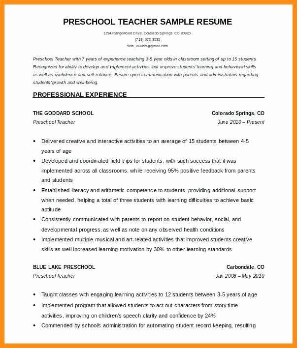 Teacher Resume Template Free Download Fresh 12 Resume format for Teachers