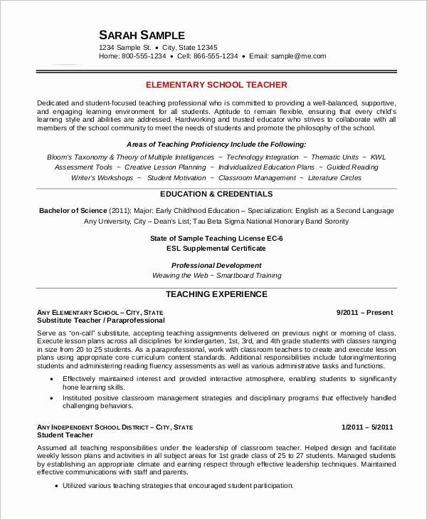 Teacher Resume Template Free Download Fresh Free Teacher Resume 40 Free Word Pdf Documents