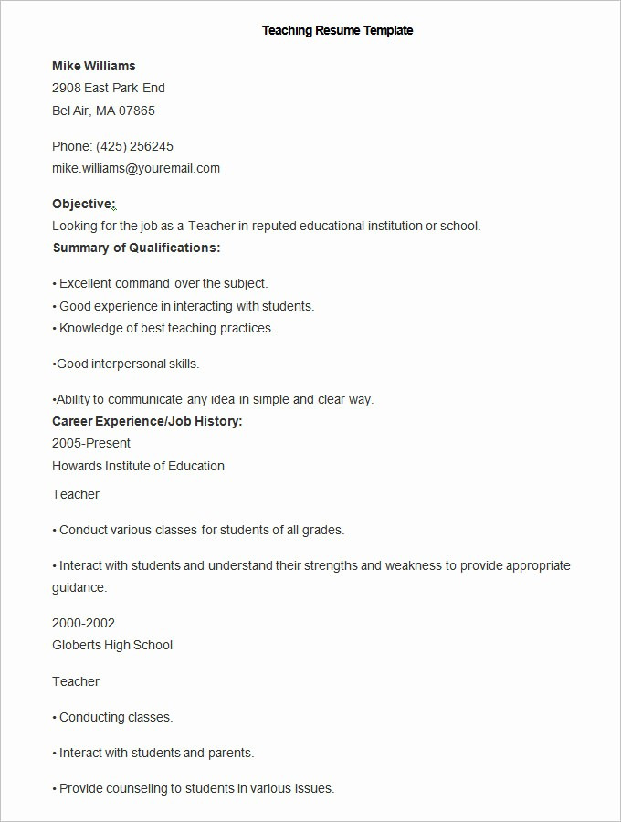 Teacher Resume Template Free Download Inspirational 50 Teacher Resume Templates Pdf Doc