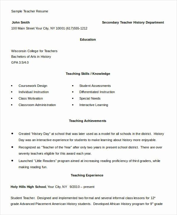 Teacher Resume Template Free Download Luxury Free Teacher Resume 40 Free Word Pdf Documents