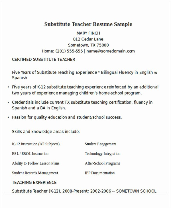 Teacher Resume Template Word Free Awesome 25 Teacher Resume Templates In Word