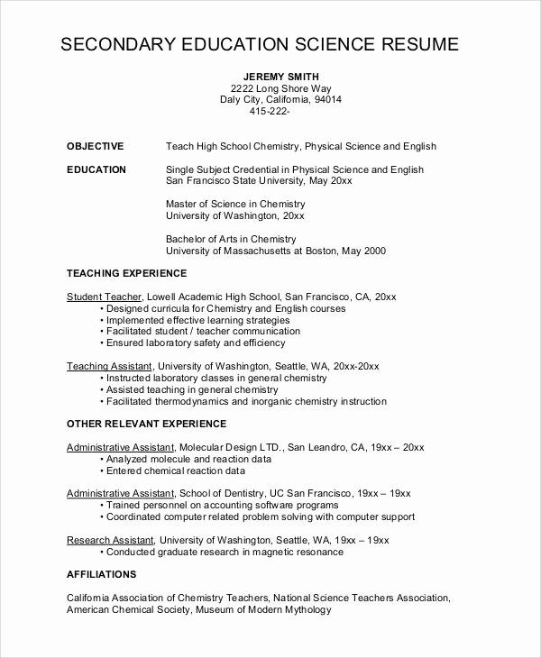 Teacher Resume Template Word Free Awesome High School Science Teacher Resume Best Resume Collection