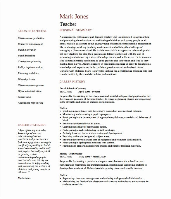 Teacher Resume Template Word Free Beautiful 50 Teacher Resume Templates Pdf Doc