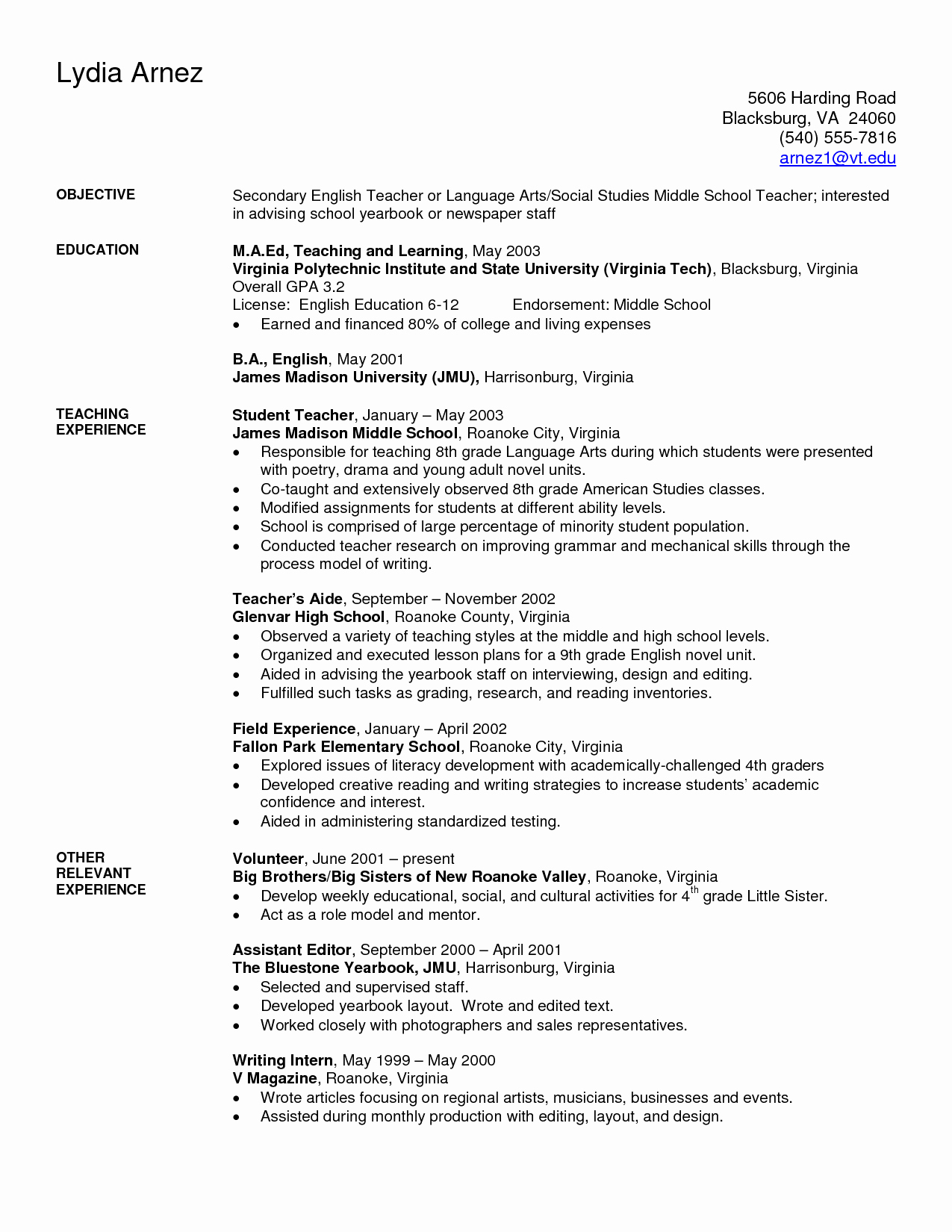 Teacher Resume Template Word Free Beautiful Art Teacher Resume Examples