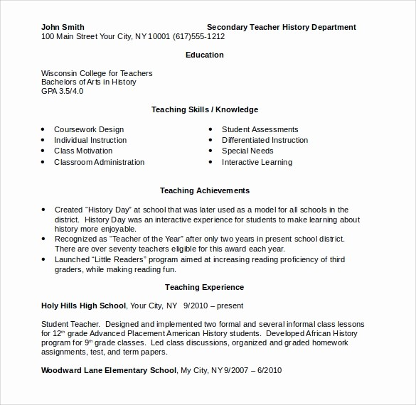 Teacher Resume Template Word Free Beautiful Elementary Teacher Resume 12 Download Free Documents