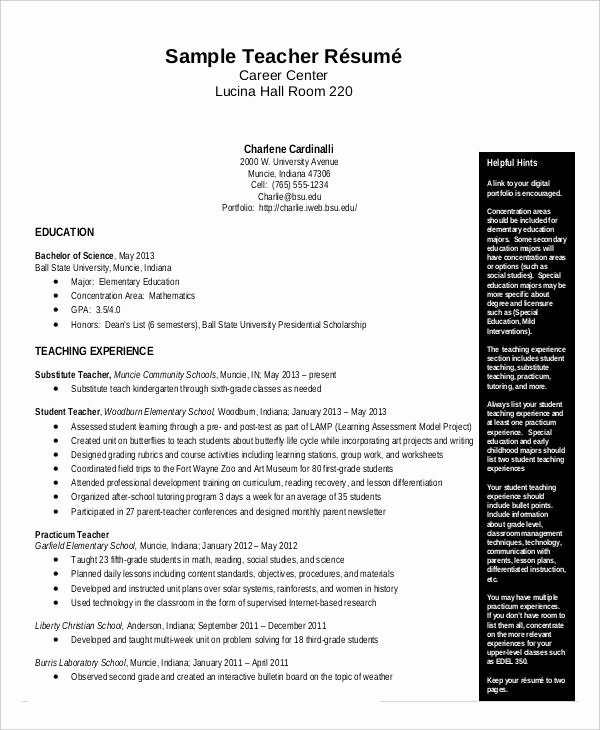 Teacher Resume Template Word Free Beautiful Free Teacher Resume 40 Free Word Pdf Documents