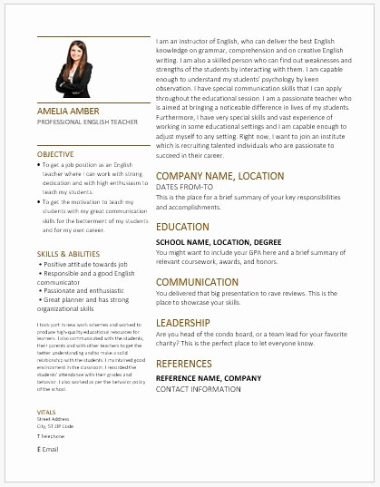 Teacher Resume Template Word Free Best Of English Teacher Resume with Contents & Layout