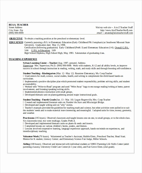 Teacher Resume Template Word Free Best Of Resume Template Word 10 Free Word Documents Download