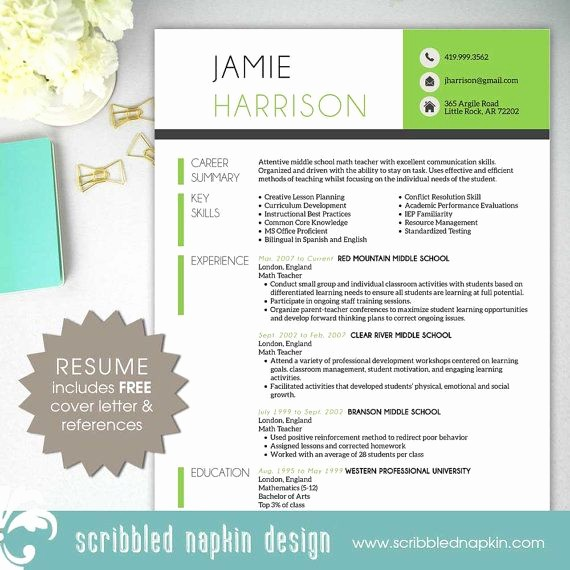 Teacher Resume Template Word Free Best Of Teacher Resume Template Resume with Free Cover Letter