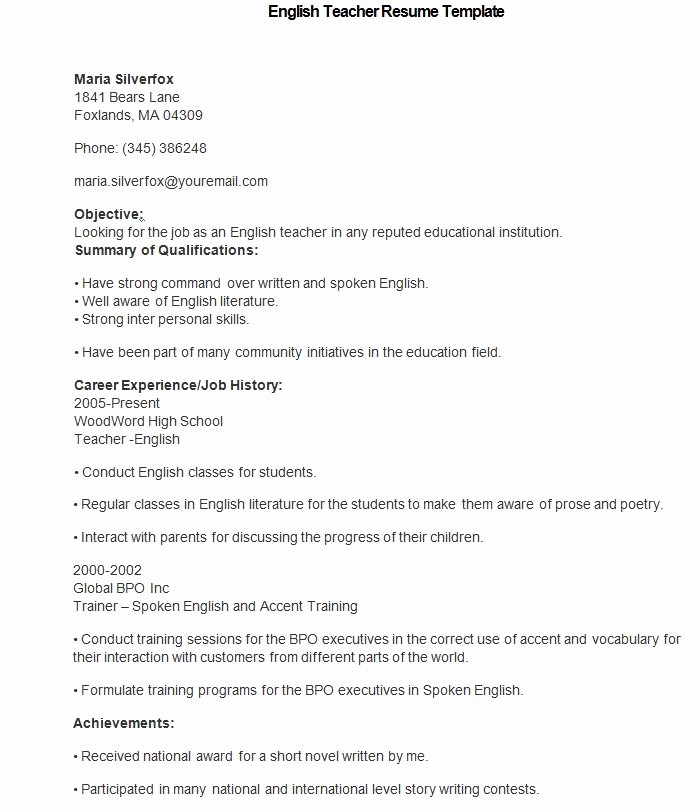 Teacher Resume Template Word Free Elegant 50 Teacher Resume Templates Pdf Doc