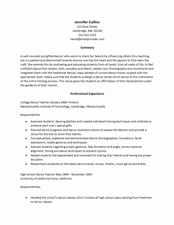 Teacher Resume Template Word Free Elegant Dance Teacher Resume Best Resume Collection