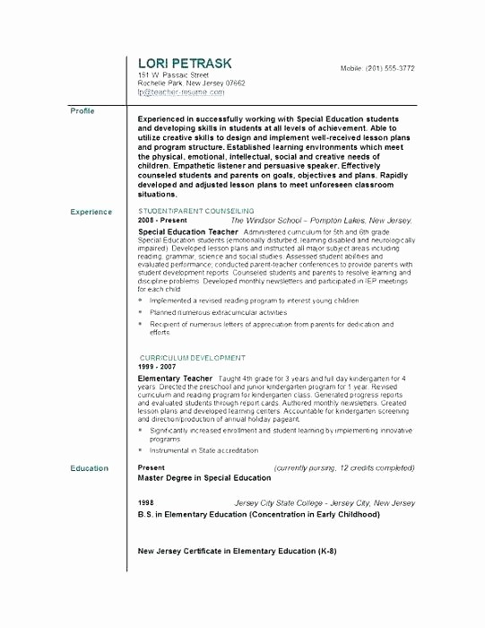 Teacher Resume Template Word Free Elegant Teacher Resume Template Word 2007 Templates Ideas