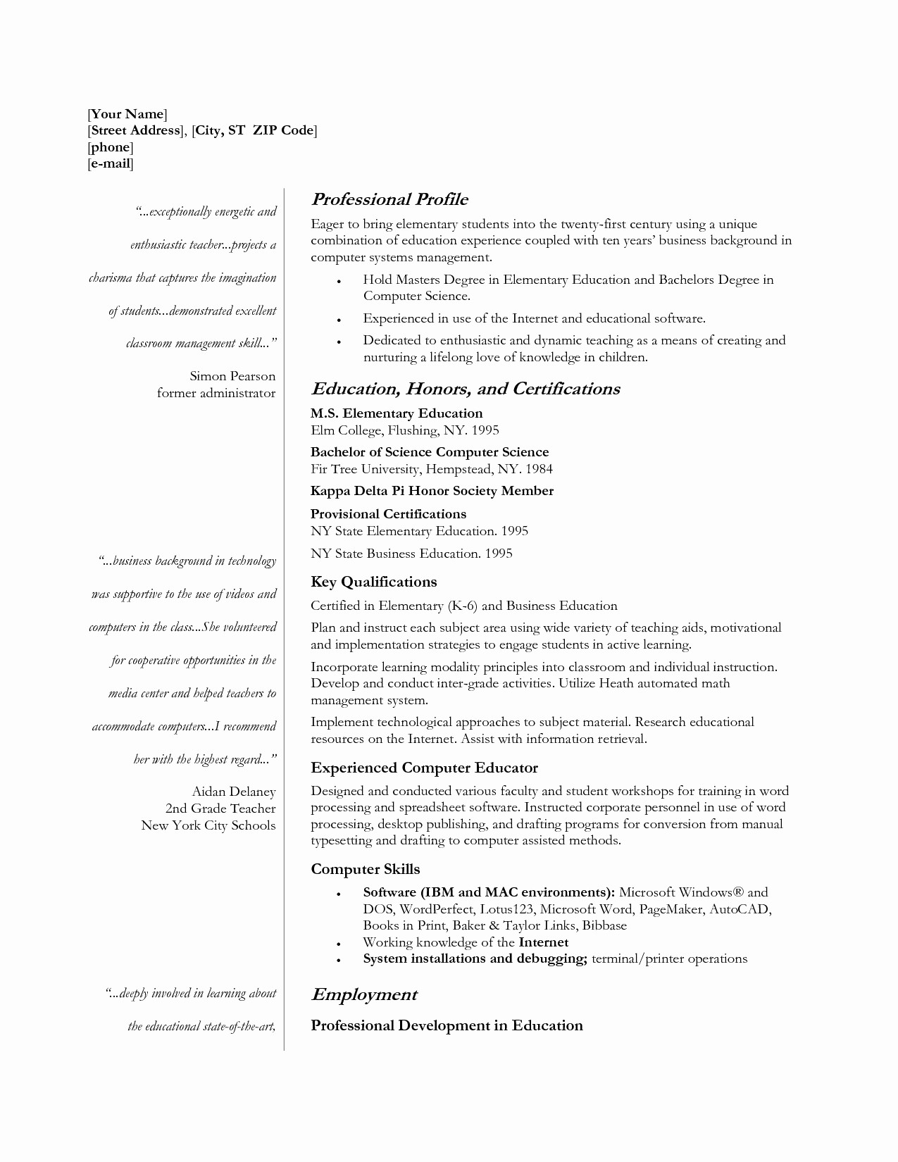 Teacher Resume Template Word Free Fresh Teacher Resume Template 2017