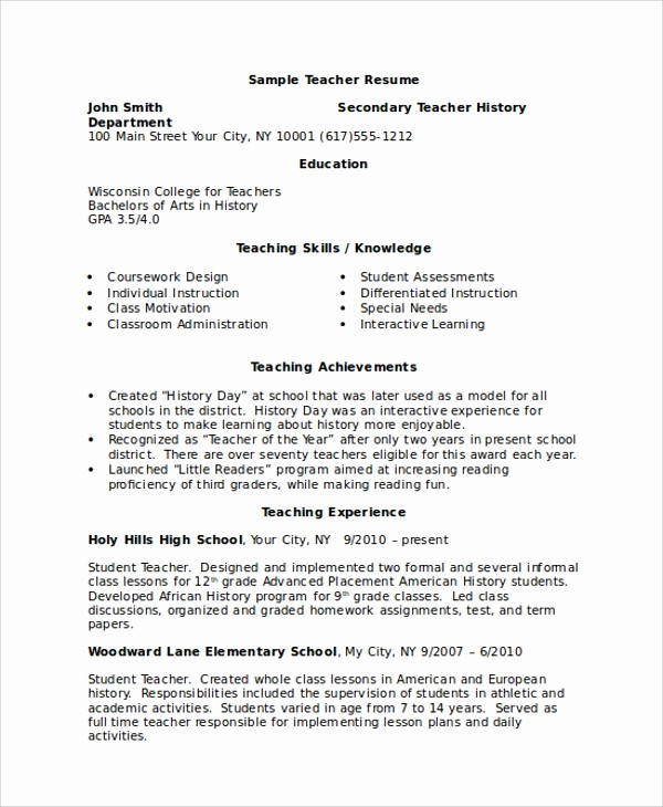 Teacher Resume Template Word Free Inspirational 8 Sample Resumes In Word