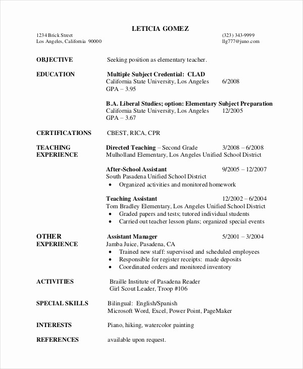 Teacher Resume Template Word Free Inspirational Elementary Teacher Resume Template 7 Free Word Pdf