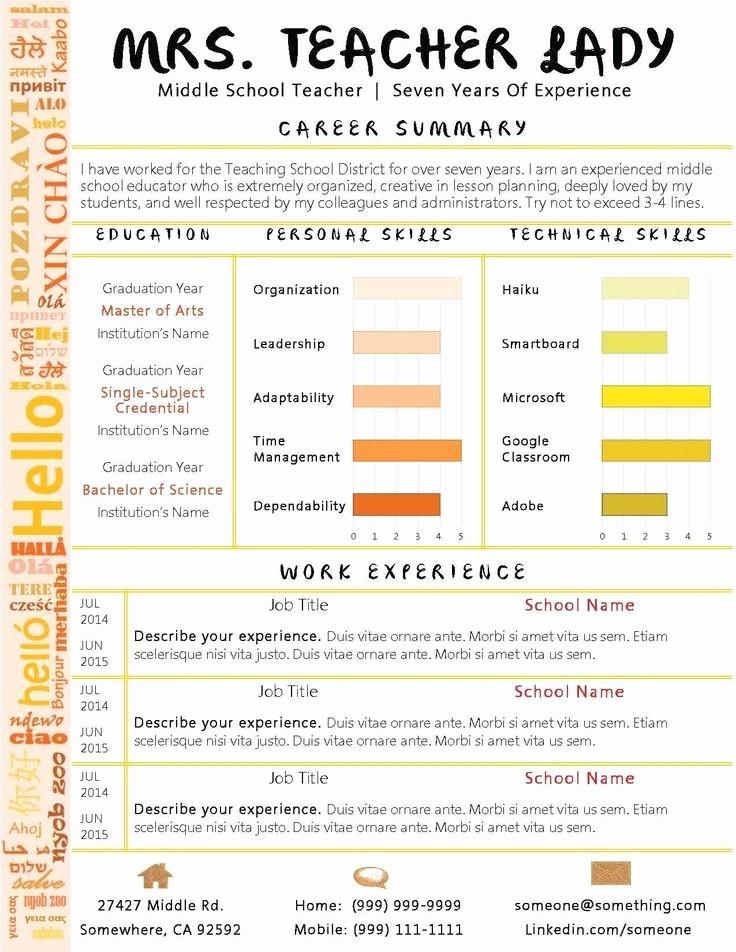 Teacher Resume Template Word Free Inspirational Teacher Resume Template Microsoft Word Best Resume