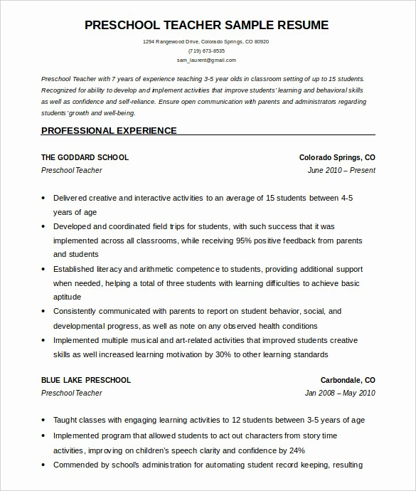 Teacher Resume Template Word Free Lovely 50 Teacher Resume Templates Pdf Doc