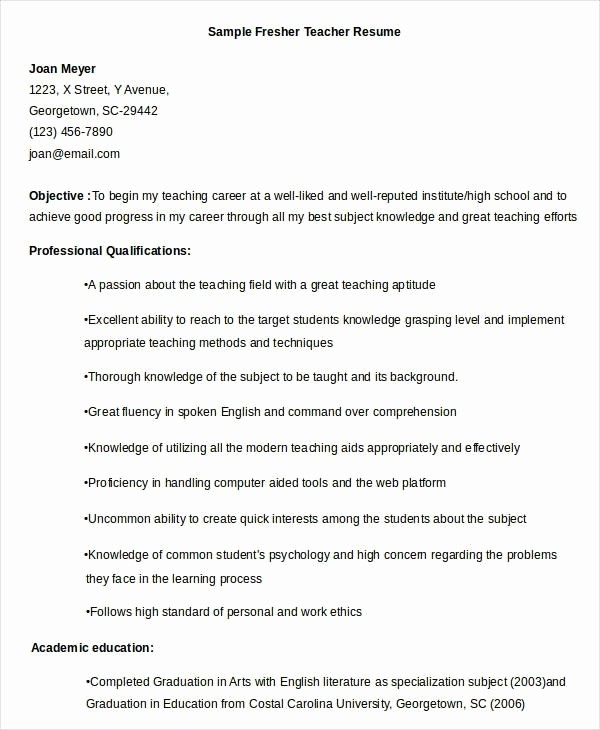 Teacher Resume Template Word Free Lovely Fresher Teacher Resume Best Resume Collection