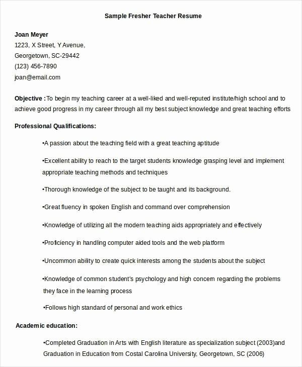 Teacher Resume Template Word Free Lovely Fresher Teacher Resume Best Resume Collection