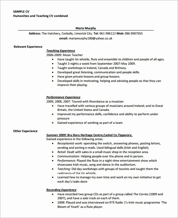 Teacher Resume Template Word Free Lovely Teaching Cv Template 9 Download Free Documents In Pdf Word