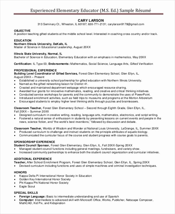 Teacher Resume Template Word Free Luxury Experienced Elementary Teacher Resume Best Resume Collection