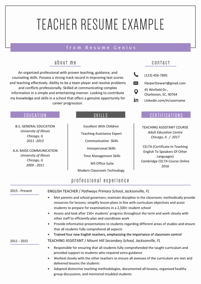 Teacher Resume Template Word Free Luxury Teacher Resume Samples & Writing Guide